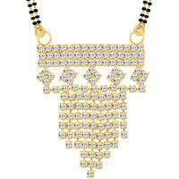 Sikka Jewels Marvellous Gold Plated Australian Diamond Mangalsutra Pendant