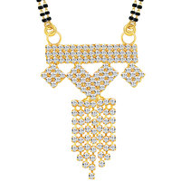 Sikka Jewels Graceful Gold Plated Australian Diamond Mangalsutra Pendant