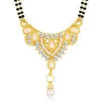 Sikka Jewels Traditional Gold Plated Australian Diamond Mangalsutra Pendant
