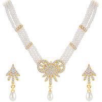 Sikka Jewels Charming Gold Plated Australian Diamond Necklace Set