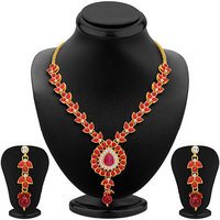 Sikka Jewels Astonishing Gold Plated Australian Diamond Necklace Set