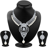 Sikka Jewels Pretty Rhodium Plated Australian Diamond Necklace Set