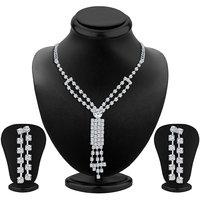 Sikka Jewels Intricately Rhodium Plated Australian Diamond Necklace Set