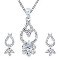 Sikka Jewels Glamorous Rhodium Plated Australian Diamond Pendant Set