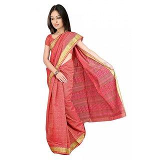 DesiButik's  Red Chanderi Saree  with Blouse VSM9013