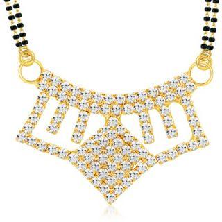 Sikka Jewels Artistically Gold Plated Australian Diamond Mangalsutra Pendant
