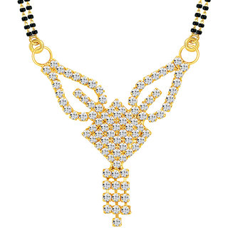 Sikka Jewels Modern Gold Plated Australian Diamond Mangalsutra Pendant
