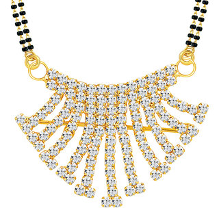 Sikka Jewels Marvelous Gold Plated Australian Diamond Mangalsutra Pendant