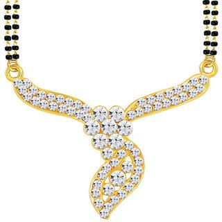 Sikka Jewels Amazing Gold Plated Australian Diamond Mangalsutra Pendant