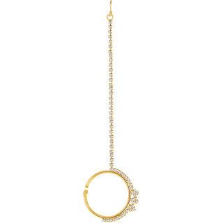 Sikka Jewels Glittery Gold Plated Australian Diamond Nose Ring