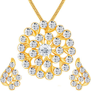 Sikka Jewels Sublime Gold Plated Australian Diamond Pendant Set