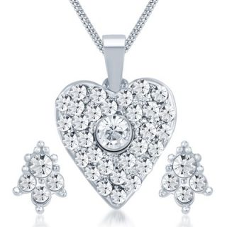 Sikka Silver Plated Austrian Diamond White Pendants Chains For Women