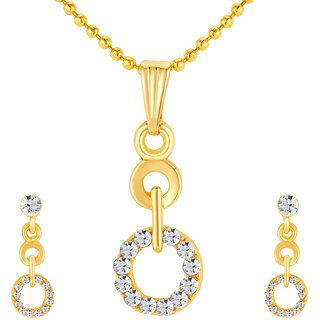 Sikka Jewels Gold Plated Gold Alloy Pendant With Chain  Earrings For Women