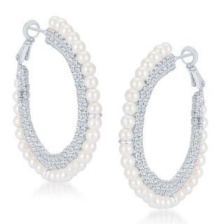 Sikka Jewels Luxurious Rhodium Plated Australian Diamond Earring