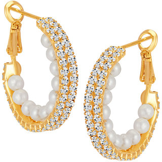 Sikka Jewels Beguiling Gold Plated Australian Diamond Earring