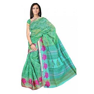 DesiButik's  Green Banarasi Net Saree  with Blouse VSM9011