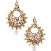 Kriaa Stunning Kundan Earrings In White - 1303736
