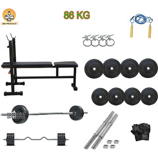 GB PRODUCT 86 KG HOME GYM PACKAGE WITH 3 IN 1 BENCH + 4 ROD + GLOVE + ROPE +LOCK