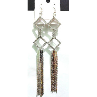 Silver Colour Long Dangle Earrings - 816