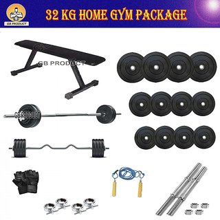 BRAND NEW 32 KG GB GYM PACKAGE WITH FLAT BENCH + 4RODS + ROPE + GLOVES + LOCK