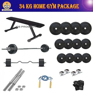 BRAND NEW 34 KG GB GYM PACKAGE WITH FLAT BENCH + 4RODS + ROPE + GLOVES + LOCK