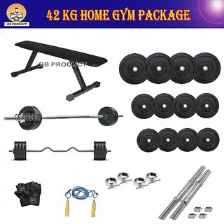 BRAND NEW 42 KG GB GYM PACKAGE WITH FLAT BENCH + 4RODS + ROPE + GLOVES + LOCK