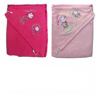 Combo Of Garg Antipilling Double Layer Hooded Dark  Light Pink Baby Blanket