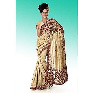 Beige bhagalpuri silk saree with unstitched blouse (anj579)