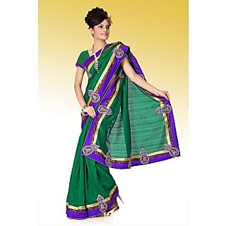Deep green bhagalpuri silk saree with unstitched blouse (anj582)