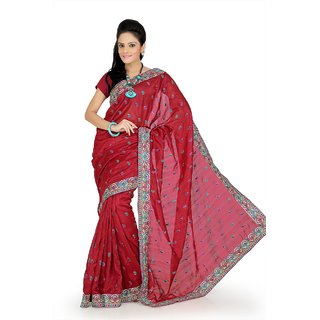 Maroon bhagalpuri silk saree with unstitched blouse (ars681)