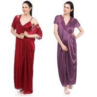 Casa Joya Purple Satin Plain Night Gowns & Nighty(COmbo of 2)