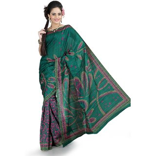 Teal bhagalpuri silk saree with unstitched blouse (ang851)