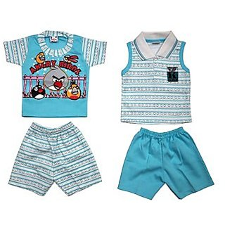 BelleGirl Cotton BabaSuit Combo With Character Print Blue 0-6M