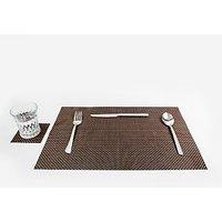 Dark & Light Brown Basket Weave Table Mat, Set Of 4+4