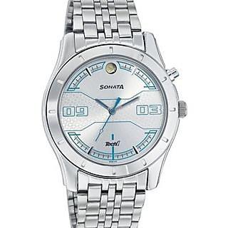 Sonata Round Dial Silver Metal Strap Quartz Watch For Men