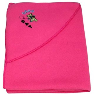 Garg Good Day Teddy Polar Fleece Hooded Dark Pink Baby Blanket