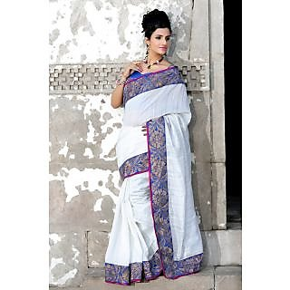 White bhagalpuri pure silk saree with unstitched blouse (921)