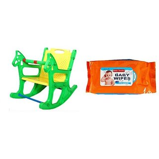 Kids Colors Ajanta Rocking Chair With free Baby Tender Wipes 80 Pcs One packet