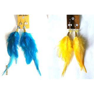 Blue & Yellow Feather Earrings Combo of 2 Pairs - 723