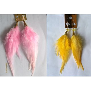 Pink  Yellow Feather Earrings Combo of 2 Pairs - 723