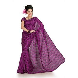 Dark magenta bhagalpuri silk saree with unstitched blouse (flk1005)