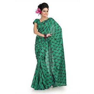 Green bhagalpuri silk saree with unstitched blouse (flk1007)