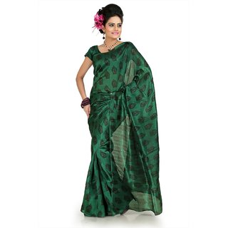 Green bhagalpuri silk saree with unstitched blouse (flk1012)