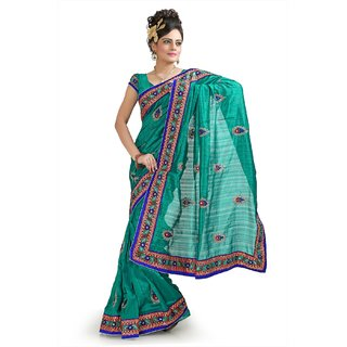 Teal bhagalpuri silk saree with unstitched  blouse (pnm1035)