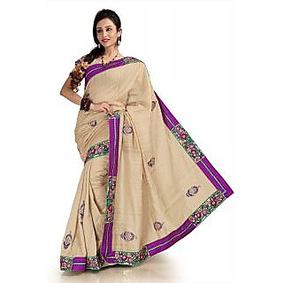 Beige bhagalpuri silk saree with unstitched blouse (knk1154)