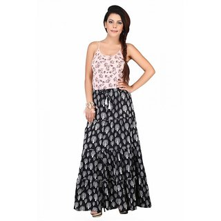 Freshia Women Black Printed Long Cotton Skirts
