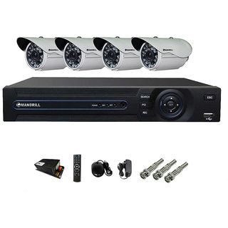 MANDRILL 4 PC OUTDOOR AHD NIGHT VISION SECURITY CCTV CAMERA + 4 CH MANDRILL DVR