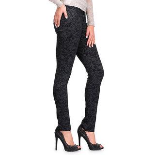 Fashion Cult Stylish Black Cotton Printed Lycra Trouser - Black