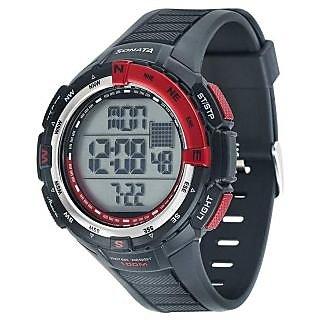 Sonata Round Dial Black Fabric Strap Quartz Watch For Men