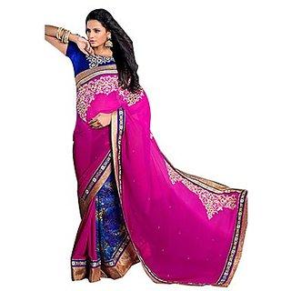 Trishana Fashions Sarees Georgette Embroidered TFWE10004 Magenta